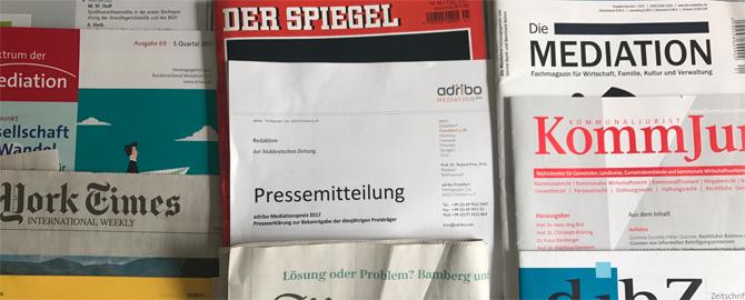 Presseerklärung zum adribo-Mediationspreis 2017...